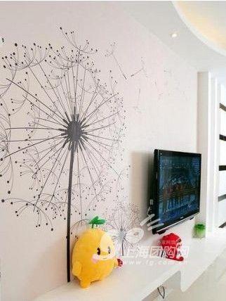 客厅的手绘墙,黑色的简单线条将蒲公英绘画的极为细致.