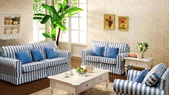 蓝白花纹l沙发