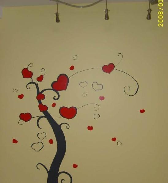 从构图到上色 11图解墙绘许愿树,非洲菊全过程