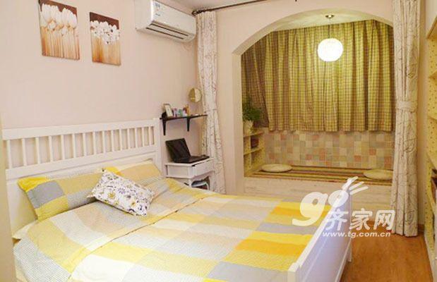 看看这个卧室的颜色很清爽的吧 47平米小户型混搭风格创意高清图片