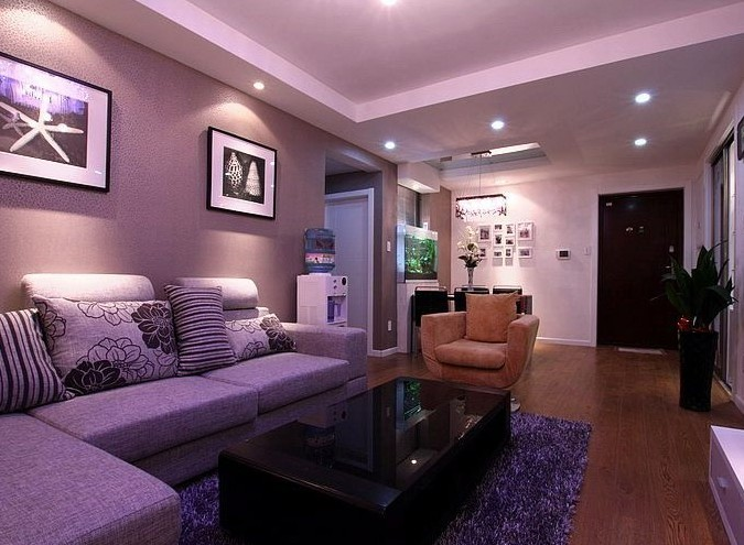 紫色水晶燈韻味十足 18萬三室兩廳雅致家