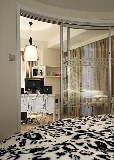 黑白色 单身男30万豪装74平酒店式公寓(8)_装修户型图片