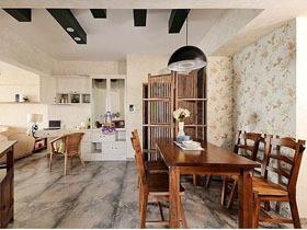 木作水岸三居室装修 120平混搭风格家复式