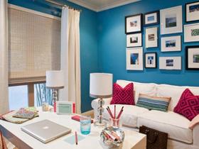 红与蓝色彩 130平打造演绎极品家居