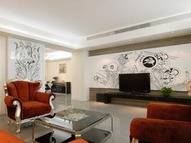 高雅客厅出彩背景墙 欧式古典二居室