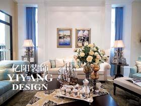地中海三居室装修 海蓝色的美家