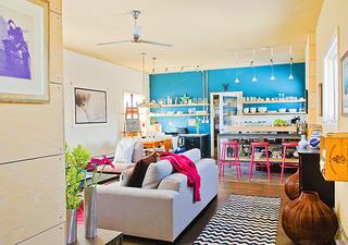 92平米橙色与蓝色混搭 甜美可人糖果公寓