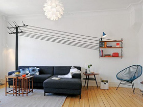 创意黑白背景墙 64平宜家风公寓