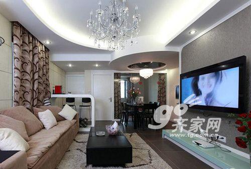 三居室-130㎡-装修案例预算: 9       万元; 90平黑白简约复式 温馨榻图片