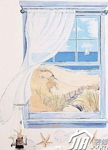 你看,蓝色的天,蓝色的海还有美丽的白云和帆船,在飘逸的窗帘下吹来了