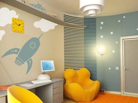 繽紛兒童房背景墻 可愛夢幻臥室