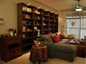 收納性沙發背景墻 89平米中式風格二居室