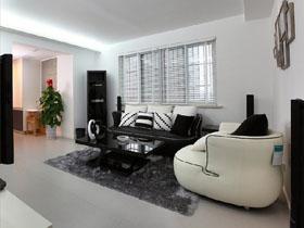 黑白簡約客廳裝 簡約生活二居室