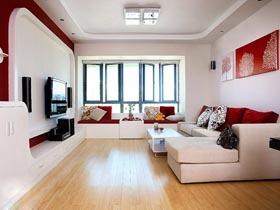 唯美电视背景墙 98平米三居室