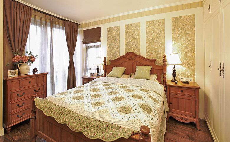 背景墙窗帘美式乡村风格效果图