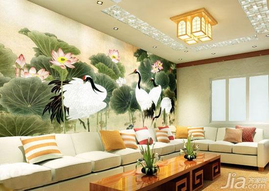 而沙发背景墙选用了深色底的大大的蒲公英,使这个客厅显得别具一格.