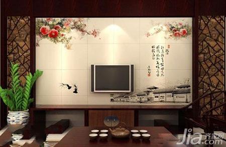 一眼看去这个客厅散发着浓浓的中式韵味,红木太师椅,背景墙旁的中式图片