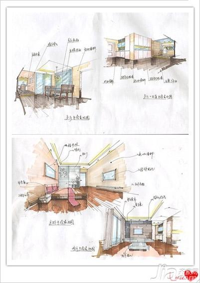设计师手绘图~~餐厅原先的灰镜设计改到小书房那边了
