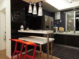 85平现代风婚房 黑白红完美融合