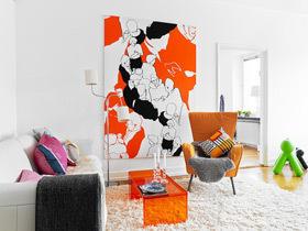 橙色+明黄 78平亮丽北欧公寓