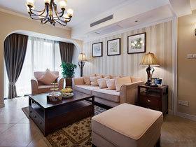 阁楼开放式书房 复式淡淡奶油色美式家