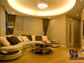 可爱圆形客厅 暖暖的简约温馨两居
