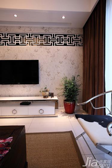 中式风格二居室20万以上电视背景墙电视柜图片