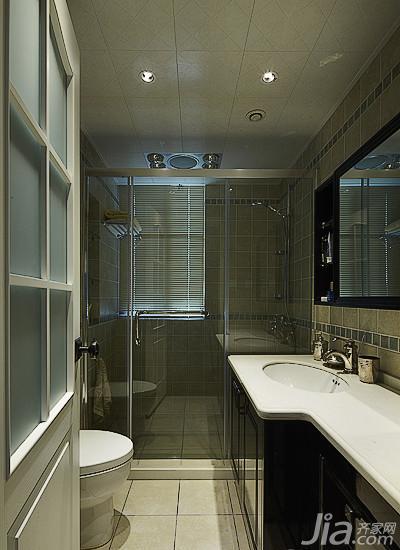 美式风格三居室140平米以上卫生间吊顶淋浴房图片高清图片