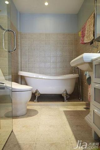 地中海风格二居室140平米以上主卫浴缸效果图