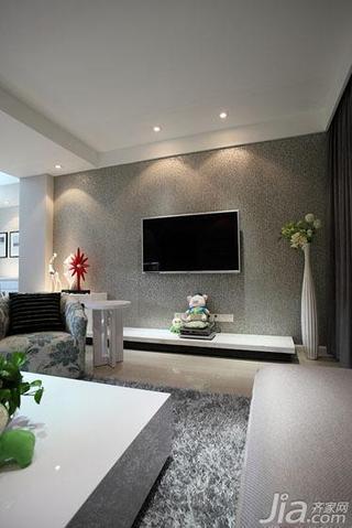 现代简约风格二居室120平米电视背景墙壁纸图片