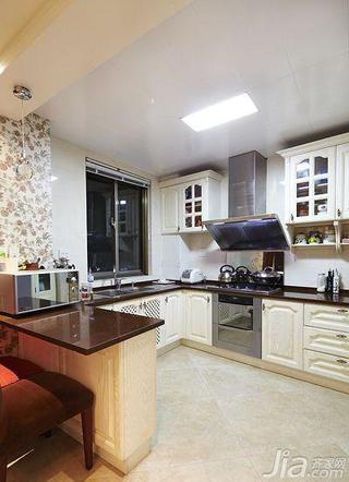 简欧风格二居室120平米厨房吧台效果图