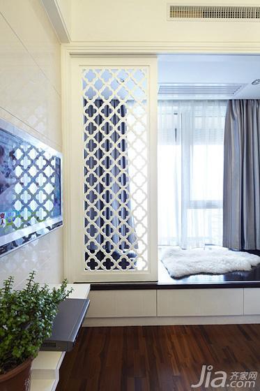 现代简约风格一居室60平米电视背景墙窗帘效果图