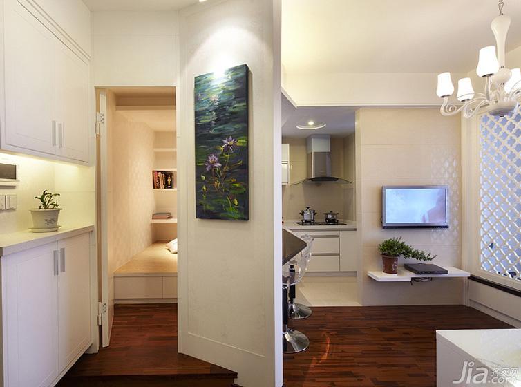 现代简约风格一居室60平米电视背景墙玄关柜图片