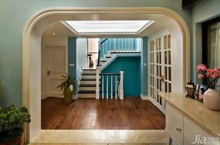 复式蓝色20万以上140平米以上楼梯地板效果图