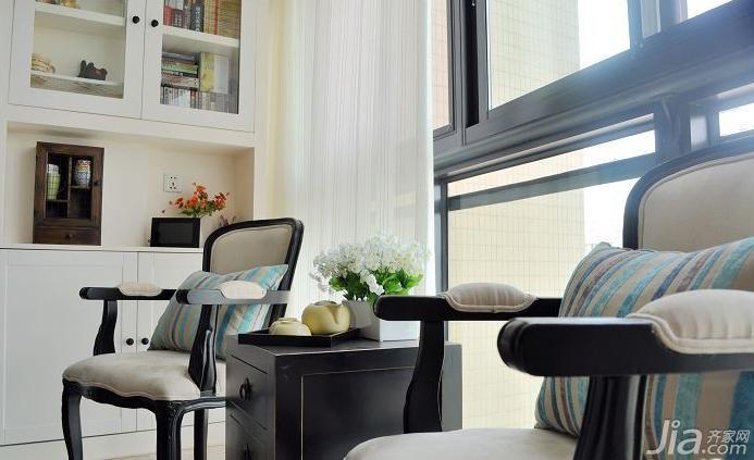 田园风格三居室90平米阳台书柜效果图