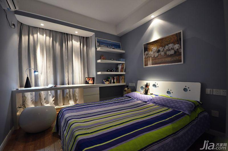 现代简约风格三居室蓝色140平米以上儿童房儿童床图片