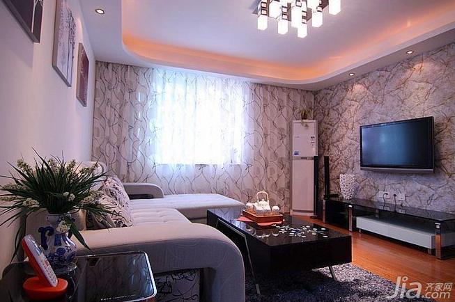宜家风格二居室90平米客厅电视背景墙窗帘效果图