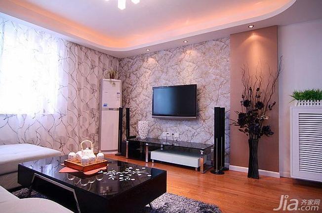 宜家风格二居室90平米电视背景墙窗帘效果图