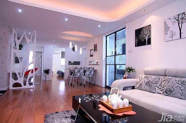 宜家风格二居室90平米客厅隔断设计图
