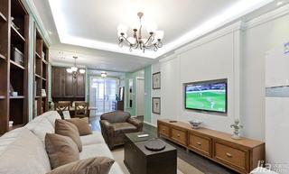 美式风格二居室80平米客厅电视背景墙电视柜效果图