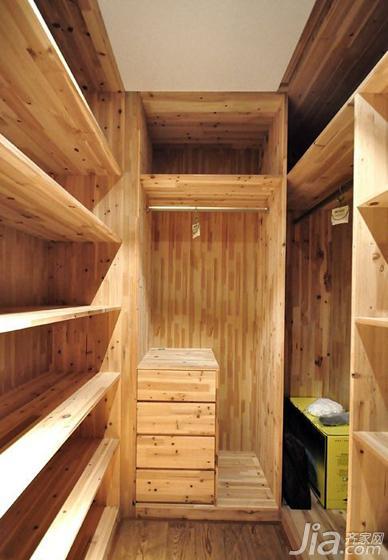 现代简约风格三居室原木色120平米衣帽间设计图纸