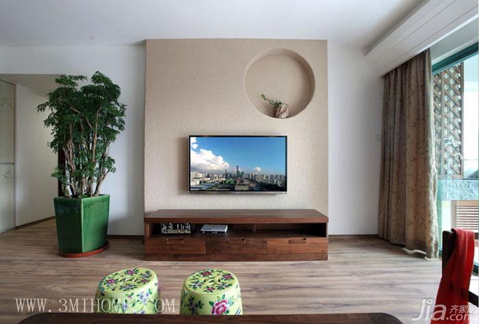 三米设计新中式风格电视背景墙电视柜图片