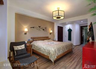 三米设计新中式风格卧室卧室背景墙卧室灯效果图