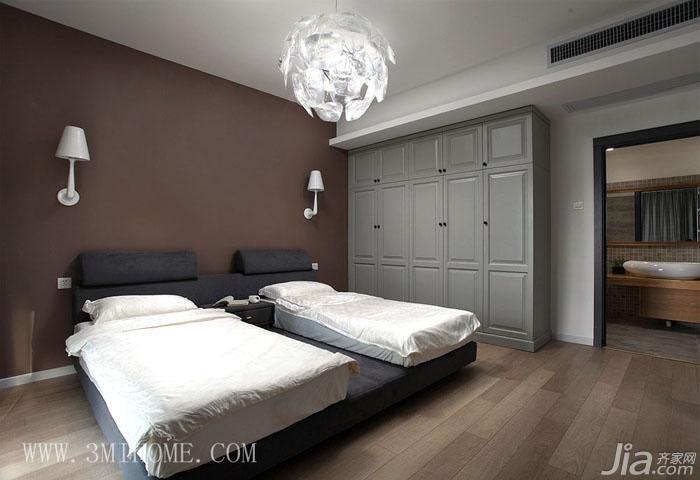 三米设计混搭风格大户型卧室灯效果图