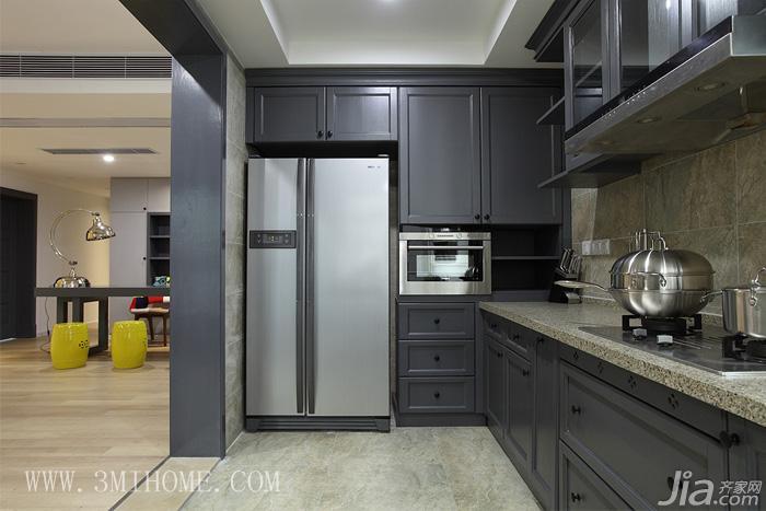 三米设计混搭风格大户型厨房效果图