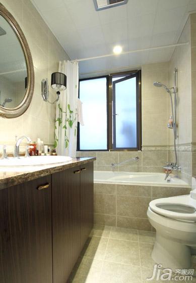 简欧风格三居室120平米卫生间吊顶浴缸效果图