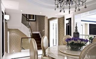 新古典风格跃层140平米以上餐厅楼梯壁纸图片