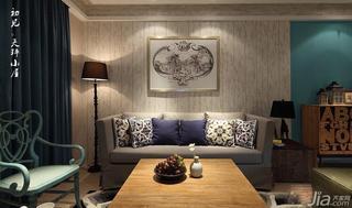 混搭风格三居室120平米沙发背景墙客厅灯效果图
