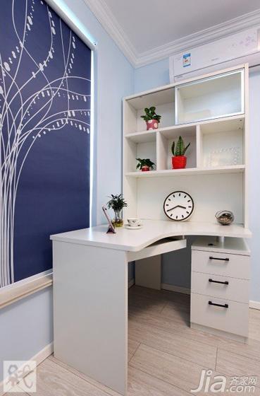 宜家风格二居室蓝色60平米书桌效果图
