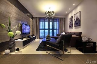 新古典风格三居室120平米客厅电视背景墙客厅灯效果图